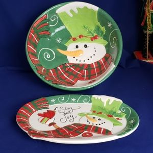 Fitz and Floyd Holly Hat Snowman Bowl and Dish